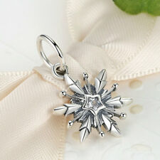 New Authentic 925 Sterling Silver Clear CZ snowflake Charm fit Bracelet Chain