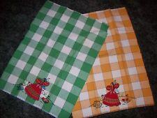 Vintage Tea Towels Set of 2  - Dancing Senoritas -Bold  Green & Yellow Check