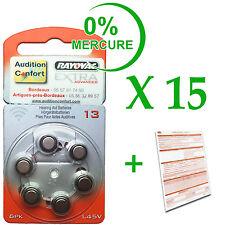 15 plaquettes de 6 piles pour appareil auditif RAYOVAC N° 13  (PR70) 0% mercure