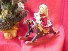 1990 Byers Choice Carolers Girl on Big Double Wooden Rocking Horse Perfect! b146