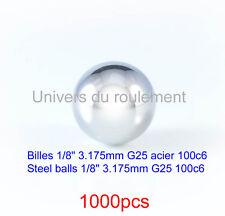 BILLE ACIER 1/8 3.175mm 100c6 GRADE 25 STEEL BALL pour F1 XRAY PAN CAR RC 1000pc