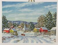 Marion Gray Traver FRONT ONLY Snowy Village Scene Christmas Vintage Card