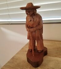 J.Pinal Wood Carving,Elderly Mexican Man,With Cane