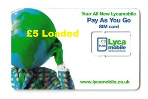 £5 Loaded/Credit Lyca-Mobile 3 in 1(Standard+Micro+Nano) Pay As You Go SIM Card.