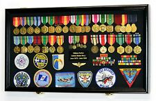 Large Military Medals Flag Pins Ribbons Patches Display Case Cabinet Shadow Box