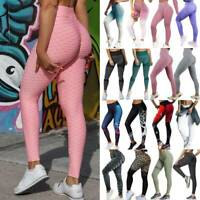 Womens PUSH UP Yoga Leggings Ruched Pants Fitness High Waist Sport Gym Trousers