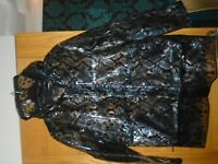 NEW next size 18 black & blue snake print clear plastic raincoat...rrp £45