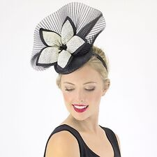 New Jendi Black & Cream Formal Racing Wedding Derby Day Fascinator Headband