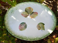 """Made in Italy 15"""" x 12"""" PLATTER ~~ Real Leaf Imprint ~~ HANDPAINTED ~~ Pier 1"""