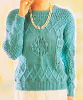 "Unusual Aran Style Textured Tulip Tree Sweater Knitting Pattern DK 32"" -42"""