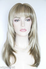 Light Ash Brown  Champagne Blonde Frost Blonde Straight Skin Top Long Wigs