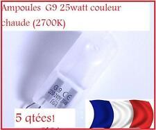 LOT de 5 Ampoules Halogene G9  25W ECONOMES et PUISSANTES éclairage chaud 2700K