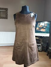 BNWT Ladies River Island Stylish Faux Suede Brown Pinafore Dress Size 12