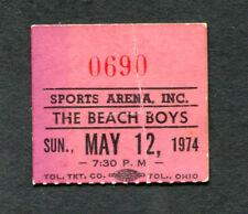 1974 Beach Boys Concert Ticket Stub Sports Arena Toledo Ohio  Surfin Safari