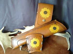 Archery side quiver with embossed and hand painted Sunflowers, leather quiver
