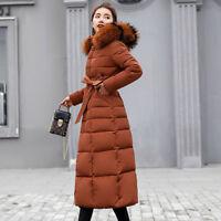 Women's Hooded Down Jackets Winter  Long Fur Collar Coat Parka Warm Outwear Tops
