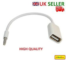 3.5mm Male AUX Audio Plug Jack To USB 2.0 Female Converter Extension Cable White