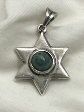 Star Of David Pendant - Sterling Silver With Chrysocolla Stone