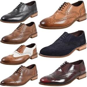 Mens Brogues Formal Shoes Lace up Leather Wingtip Office Dress Wedding Work UK