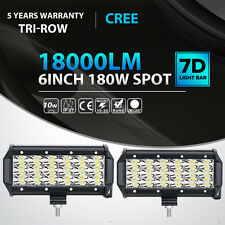 "2X Tri-Row 6""Inch 180W Cree Led Work Light Bar SPOT Offroad Driving 4WD Truck 7"""