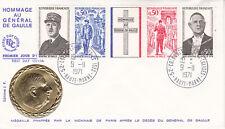 Enveloppe 1er jour FDC 1971 Hommage au Général De Gaulle avec Médaille