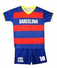 Kids Football Shirt Shorts Set BARCELONA Soccer Kit Sport Summer Top 3-13 Years