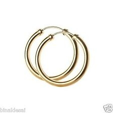 9ct Gold 22mm Plain Round Capped Tube Hing Hoop Earrings Anniversary B'day GIFT