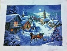 """Completed Finished Cross Stitch Needlepoint""""christmas House""""home Decro Gift"""