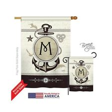 New listing Nautical M Monogram 2-Sided Vertical Impression House Flag 28 x 40 in.