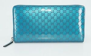 Gucci Unisex Patent Guccissima Leather Zip Around Wallet, Blue/Green, MSRP $630