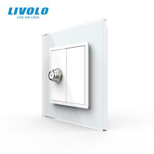 LIVOLO EU Standard Satellite Socket Outlet AC220-250V Glass Panel White