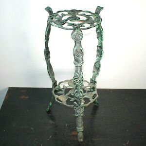 Two tier tall steel plant stand retro antique style verdigris patination sturdy