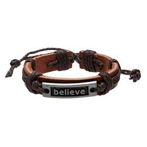 Leather Bracelets BELIEVE Adjustable Wristband Jewelry Lot of 2