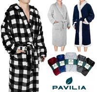 Men's Robe Microfiber Fleece Bathrobe Shawl Collar Spa Robe Sleepwear Soft Warm