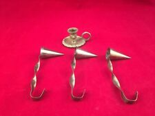 Lot Of 3 Vintage Metal Cone Shaped Candle Snuffers And Brass Candle Holder-Look!