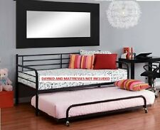 Daybed Trundle Spare Bed FOR Twin Mattress Metal Black Frame Bunkbeds Dorm New