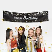 Custom Happy Birthday Shiny Glitter Fabric Party Banner Decoration Personalised