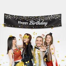 Custom Happy Birthday Shiny Glitter Fabric Party Banner Decoration Personalised