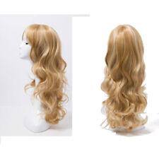 1X Women Long Wavy Golden strawberry Blonde mix Wig skin top Hair Wavy Hair DT4C