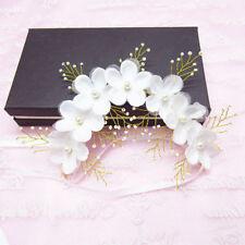 Women Girl Pearl Flower Wedding Bridal Headband Clip Hair Band Tiara Accessories