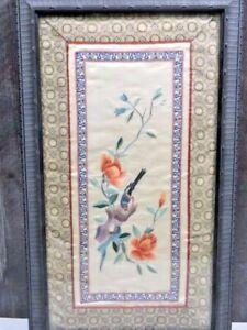 Antique Asian Silk Embroidered Panel Bird on Flower Framed