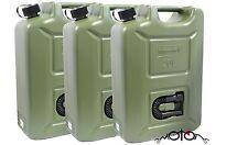 3x combustible Jerry puede 20 Litro Ltr Plástico Verde, Aceite Diesel Gasolina Gasolina queroseno