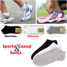 Mens Womens Trainer Ankle Liner Socks Cotton Rich Office Home Sport Sock Lot Men 6 - 11 3 Pairs Grey