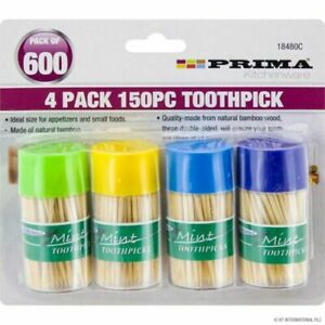 Prima Double Sided Toothpick Canisters Assorted 150 Piece Pack of 4
