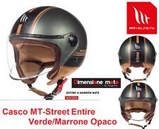 """Casco JET con Visiera """"MT"""" Street-Entire12 Verde/Marrone Opaco Taglia XL 61/62cm"""