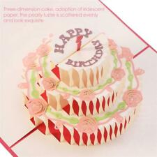 3D Pink Roses & Green Leaves Birthday Cake Pop Up Greeting Cards