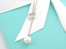 Auth Tiffany & Co Silver Peretti Open Heart Pearl Lariat Necklace Box Included