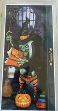"Halloween Decorative Door Cover Decor Witch Spooky Scary Cut to Fit 30""x60"" NEW"