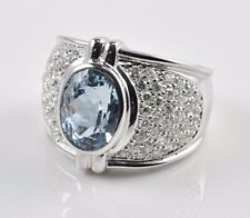 New 18k White Gold JACMAR Oval Faceted Blue Topaz with Diamonds Ring Size 7.25