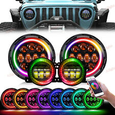 "RGB LED 7"" Round Headlight Color Fog Kit Combo For 2007-2018 Jeep Wrangler JK"